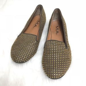 MIA Brown Gold Bedazzled Slip On Loafers Size 7